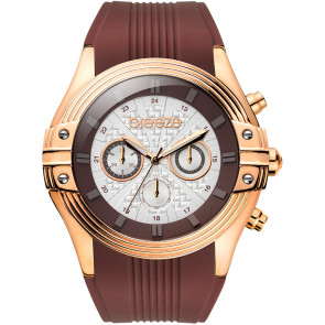 Breeze City Sleek Chrono Brown Rubber Strap