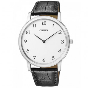 Citizen Eco-Drive Βlack Leather Strap White Dial